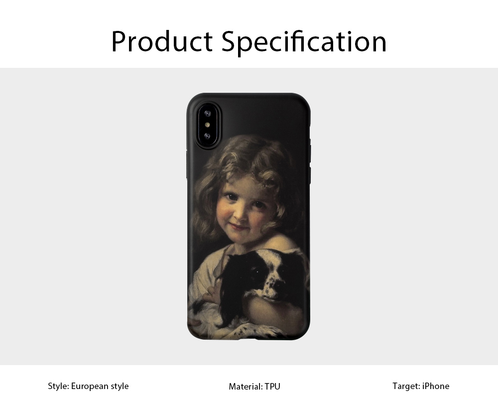 TPU Material Phone Case for iPhone 6 Plus,7 Plus 8 Plus, X, XS, XS MAX, Vintage Style Girl and Dog Pattern Soft Full Cover Phone Protection 6