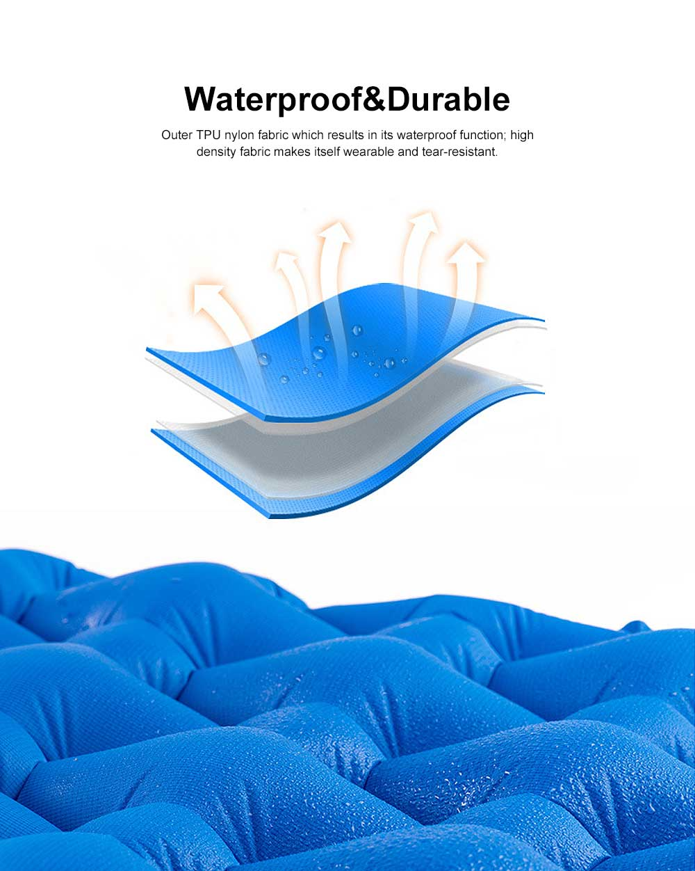 Tent Pads Self-inflating Anti-leaking Sleeping Mat TPU Waterproof Camping Mattress with Pillow for Outdoor Camping, Hiking, Backpacking 3