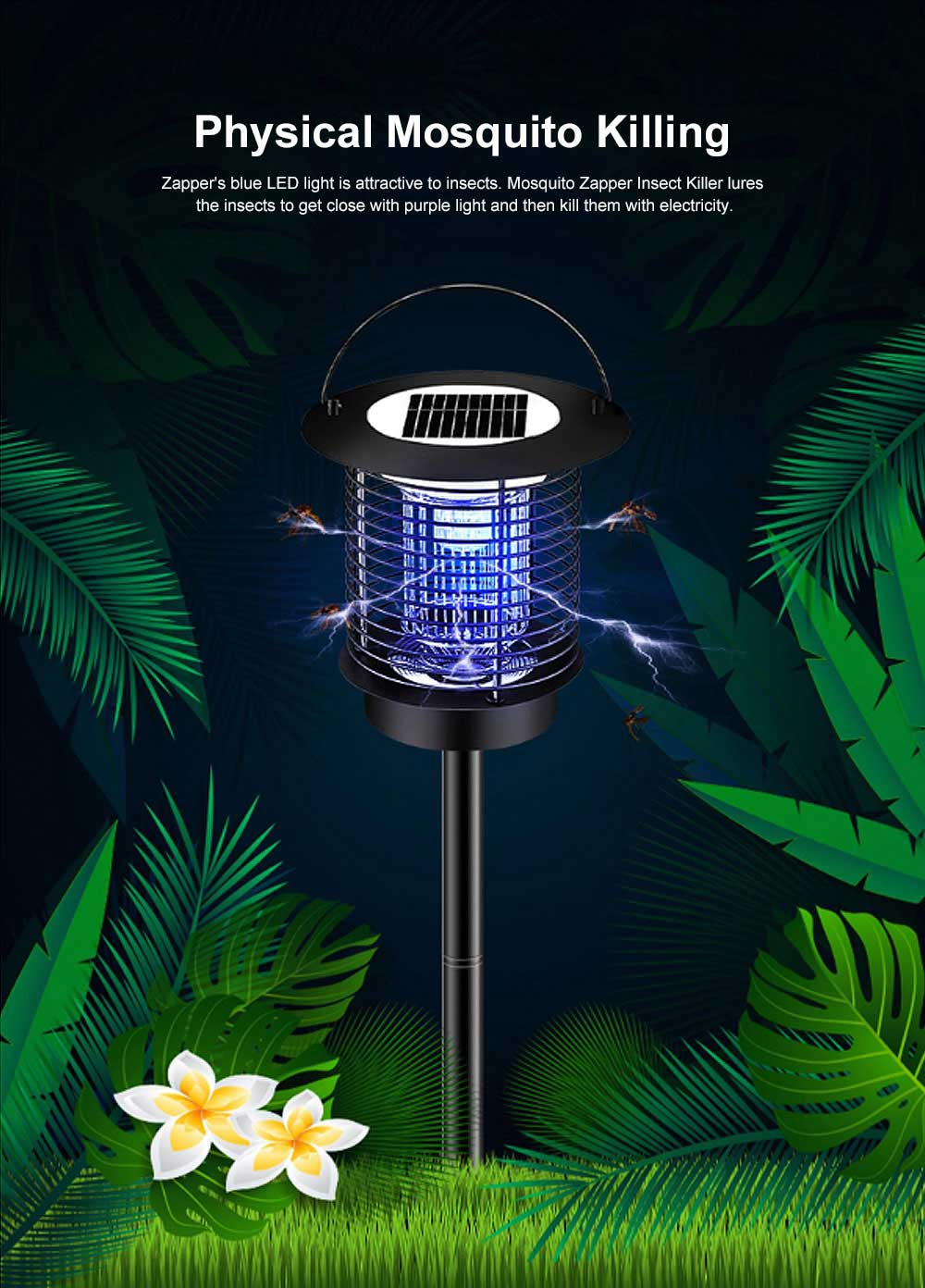Solar Mosquito Zapper, Waterproof Solar Powered LED Light Pest Bug Zapper, Insect Mosquito Killer for Ground Garden Lawn Residential, Commercial, Industrial 1