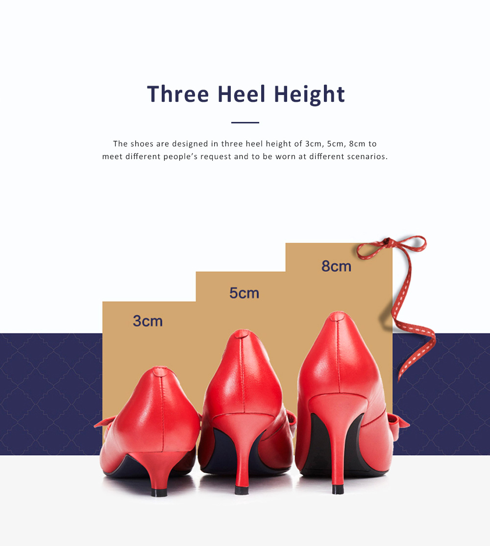Genuine Leather Stilettos with Low-cut Uppers for Women, 2019 New Korean Style Moderate Kitten Heels Shoes for Wedding, Business, Party 1