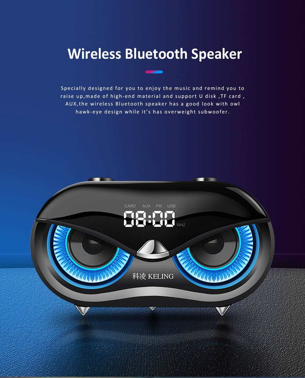 KELING K5 Wireless Bluetooth Speaker, Portable Desktop Home Speaker with Alarm Clock, FM Free Calls Subwoofer, Bionic Owl Hawk-eye Design Audio for iPhone, iPad 0
