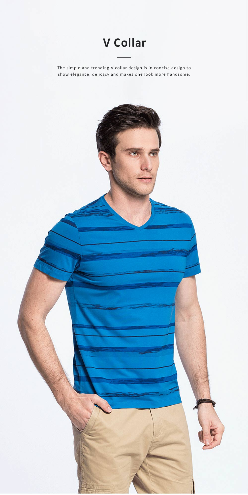 Stripe-designed V-collar T-shirt, Summer Casual Style Short Sleeve Tops, Breathable Gentleman Wear Men's Tops 4