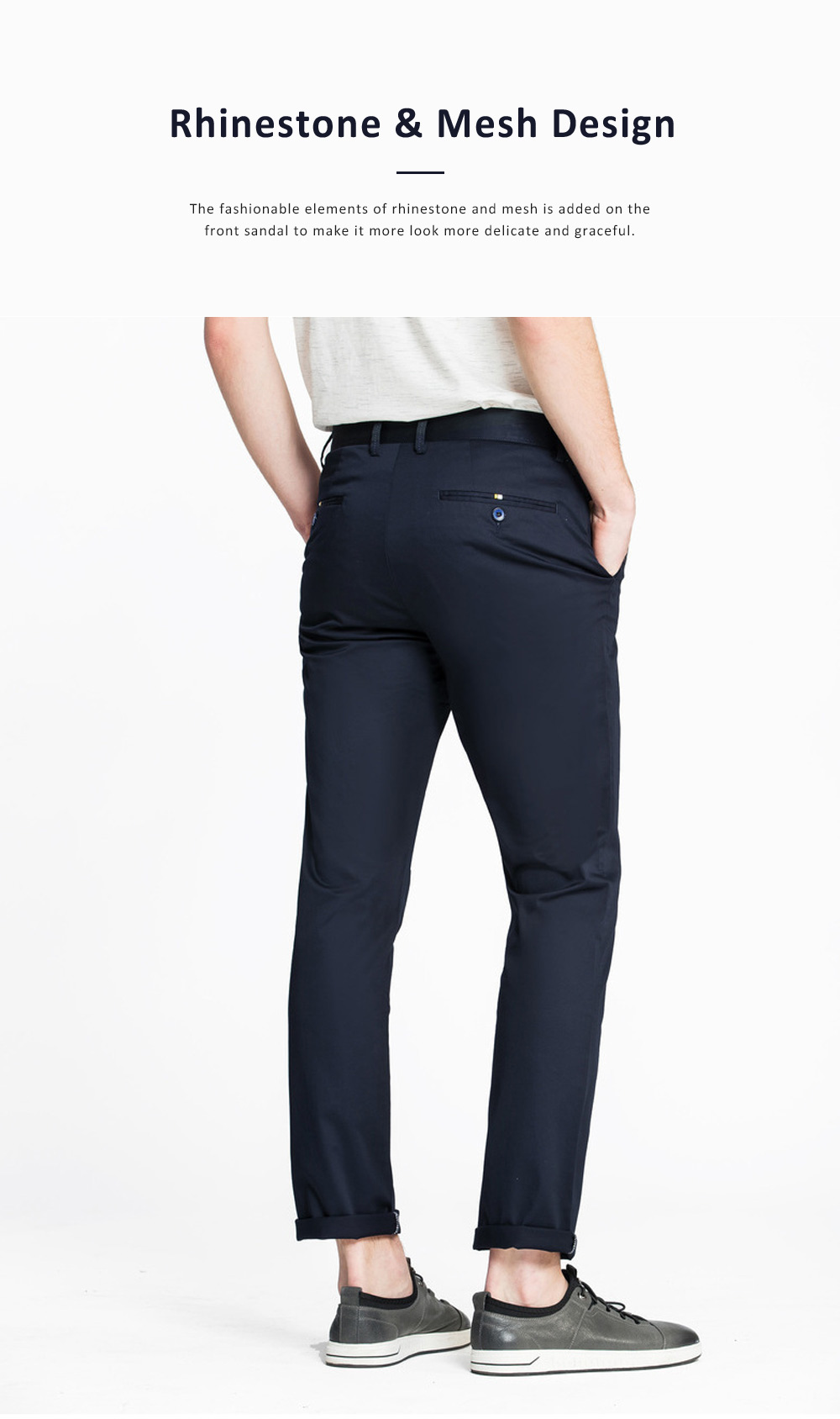 Mid-rise Straight-leg Pants for Men Spring, Pure Color Designed Straight Trousers, Slightly Elastic Fabric Casual Style Men's Wear 2