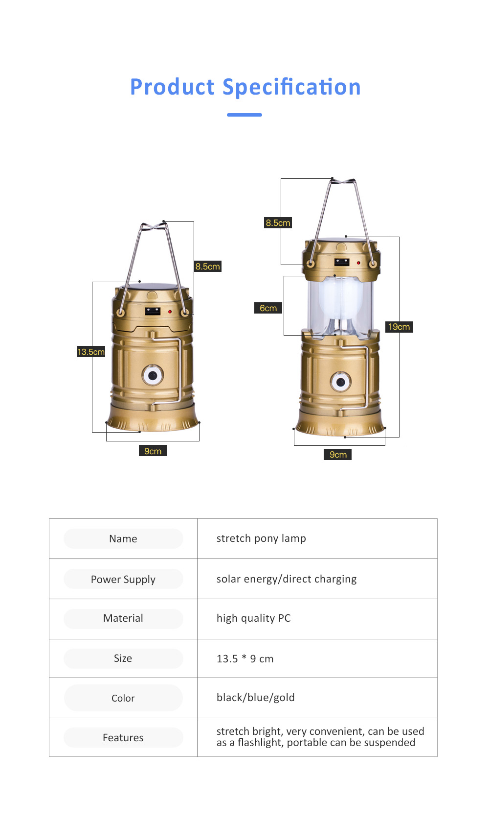 Stretchable Brightened Lantern for Camping, Hinking, Outdoors, Multifunctional Camping Lamp with Removable Hook, Two Charging Modes Lights 6