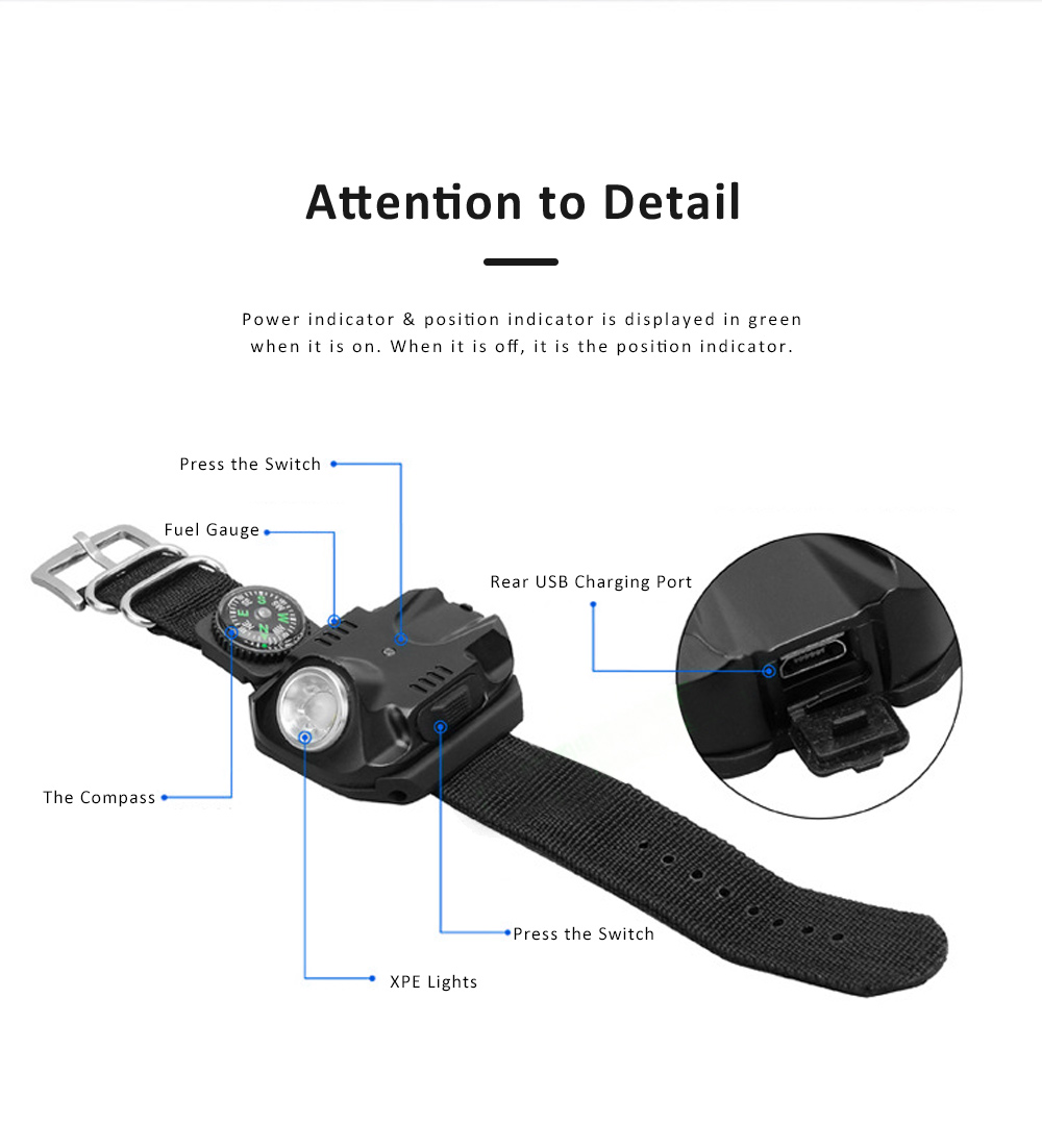 LED Wrist Light for Outdoor Running Camping Hand Flashlight with Compass Power Indicator Wrist Band Light 5