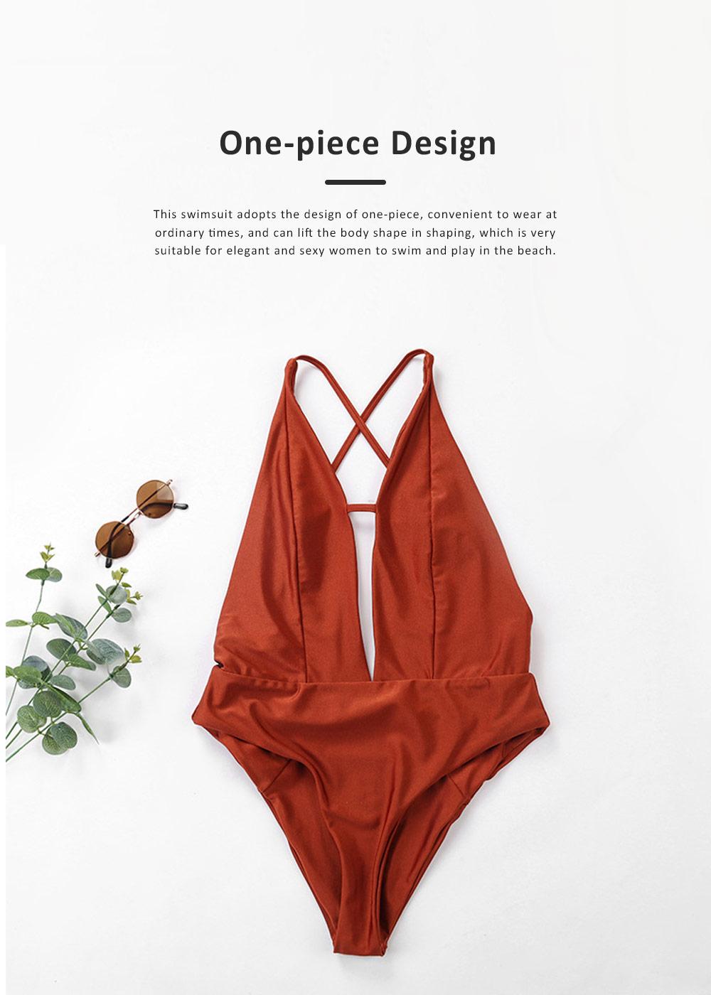 2019 Sexy Cross-strap Backless Bikini for Women , One-piece High Waist Swimwear Adjustable Shoulder Strap Backless Swimming Suit Bikini Red 2
