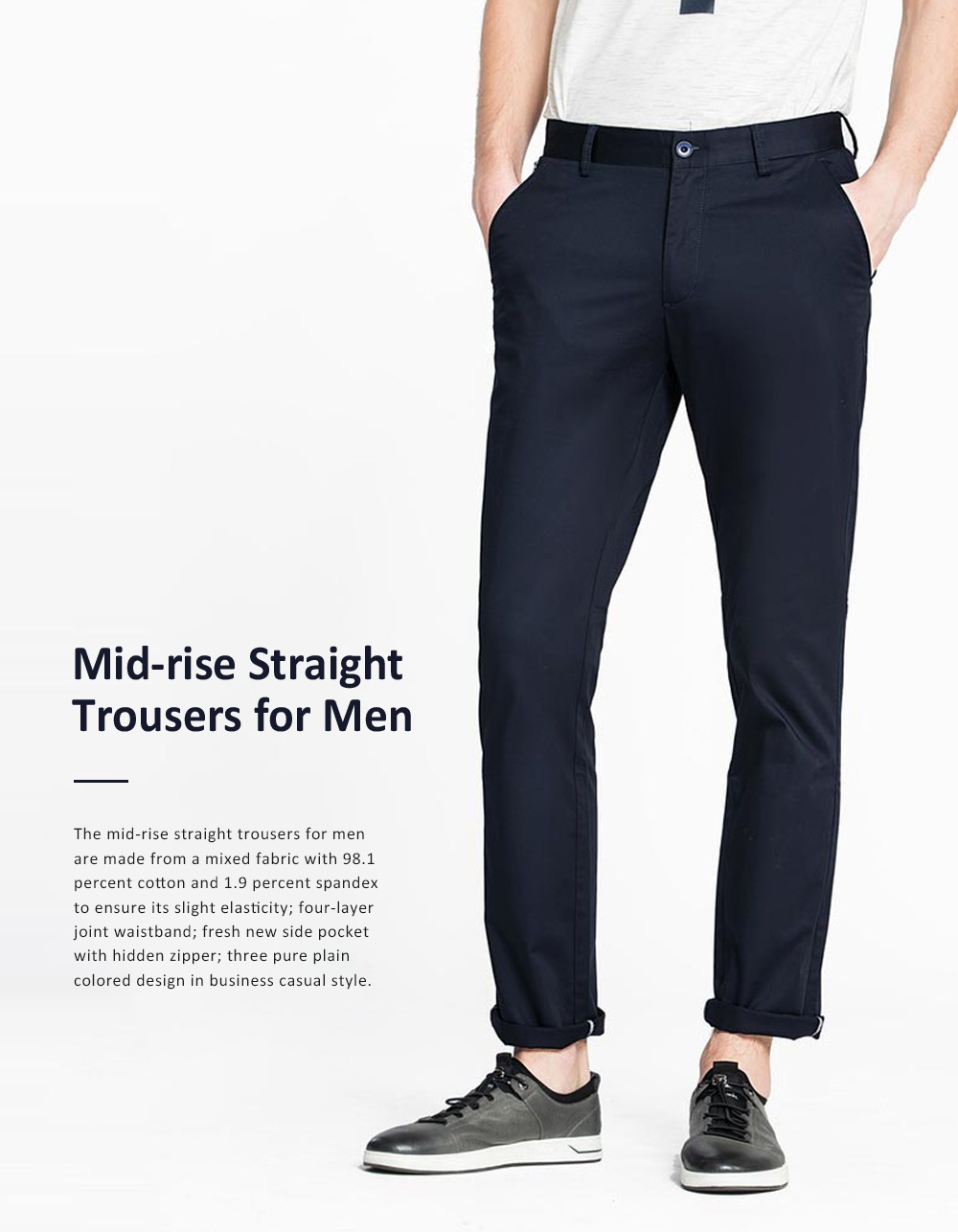 Mid-rise Straight-leg Pants for Men Spring, Pure Color Designed Straight Trousers, Slightly Elastic Fabric Casual Style Men's Wear 0