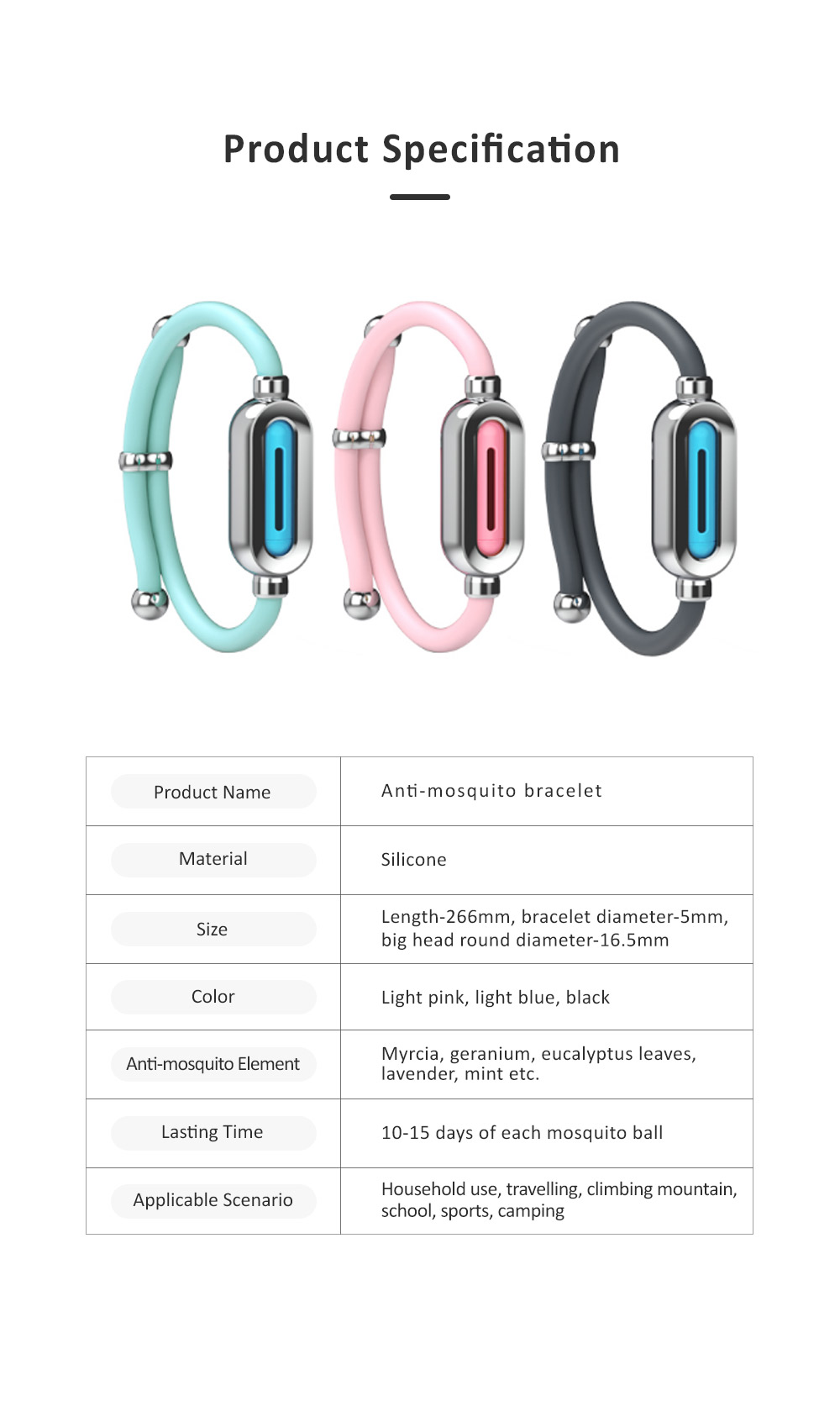Efficient Plant Essential Oil Mosquito Repellent for Babies, Wrist Wear Anti-mosquito Buckle,  Skin-friendly Anklet Silicone Mosquito Repelling Bracelet 7