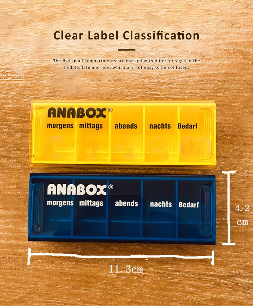 ANABOX Portable Moisture-Proof Small Pill Box Weekly-packed Separate Medical Case 1