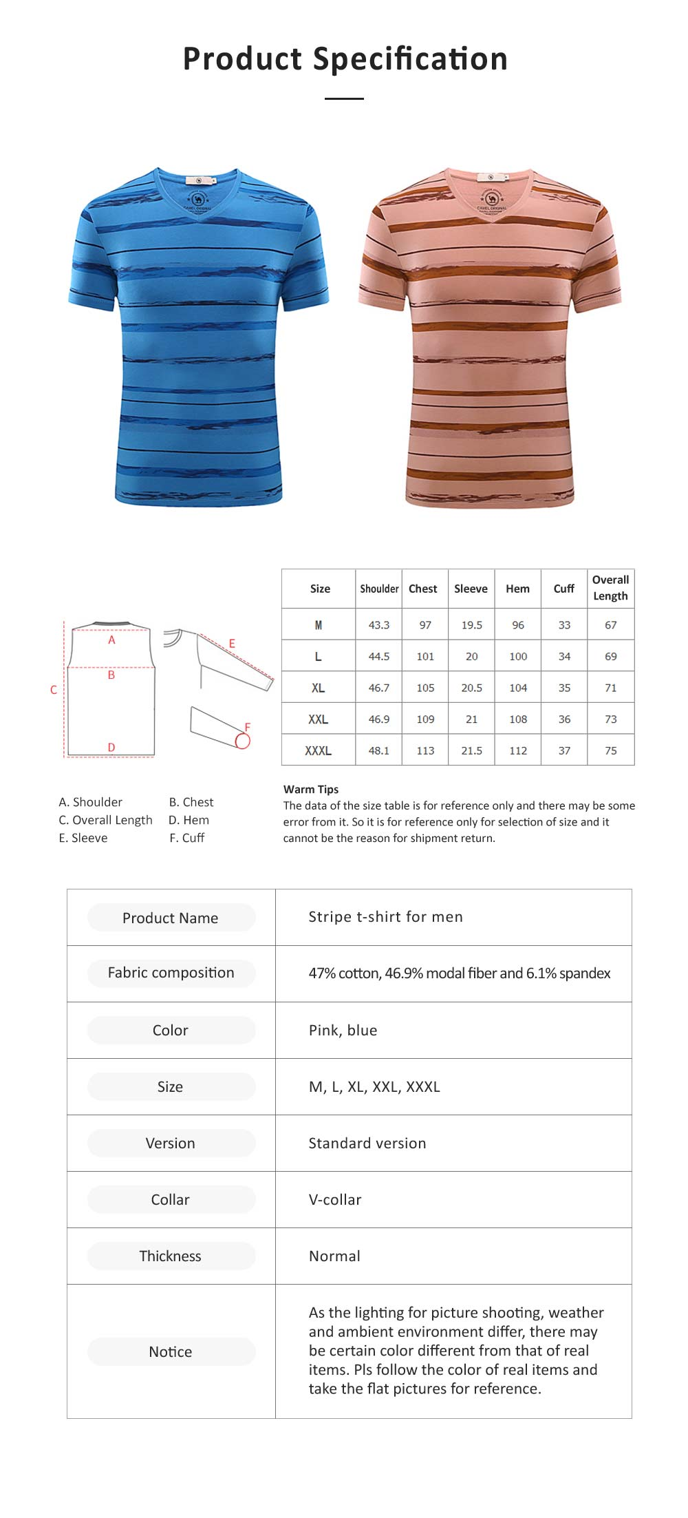 Stripe-designed V-collar T-shirt, Summer Casual Style Short Sleeve Tops, Breathable Gentleman Wear Men's Tops 6