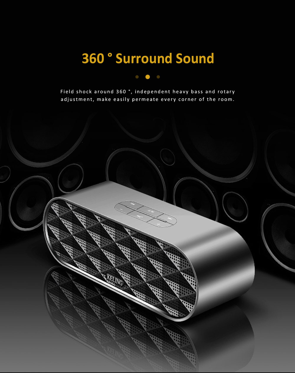 Wireless Bluetooth Speaker with HiFi Sound Quality, Bass Card Speaker Support Ultra-long Battery Life & Compatible with A Variety of Apps 2