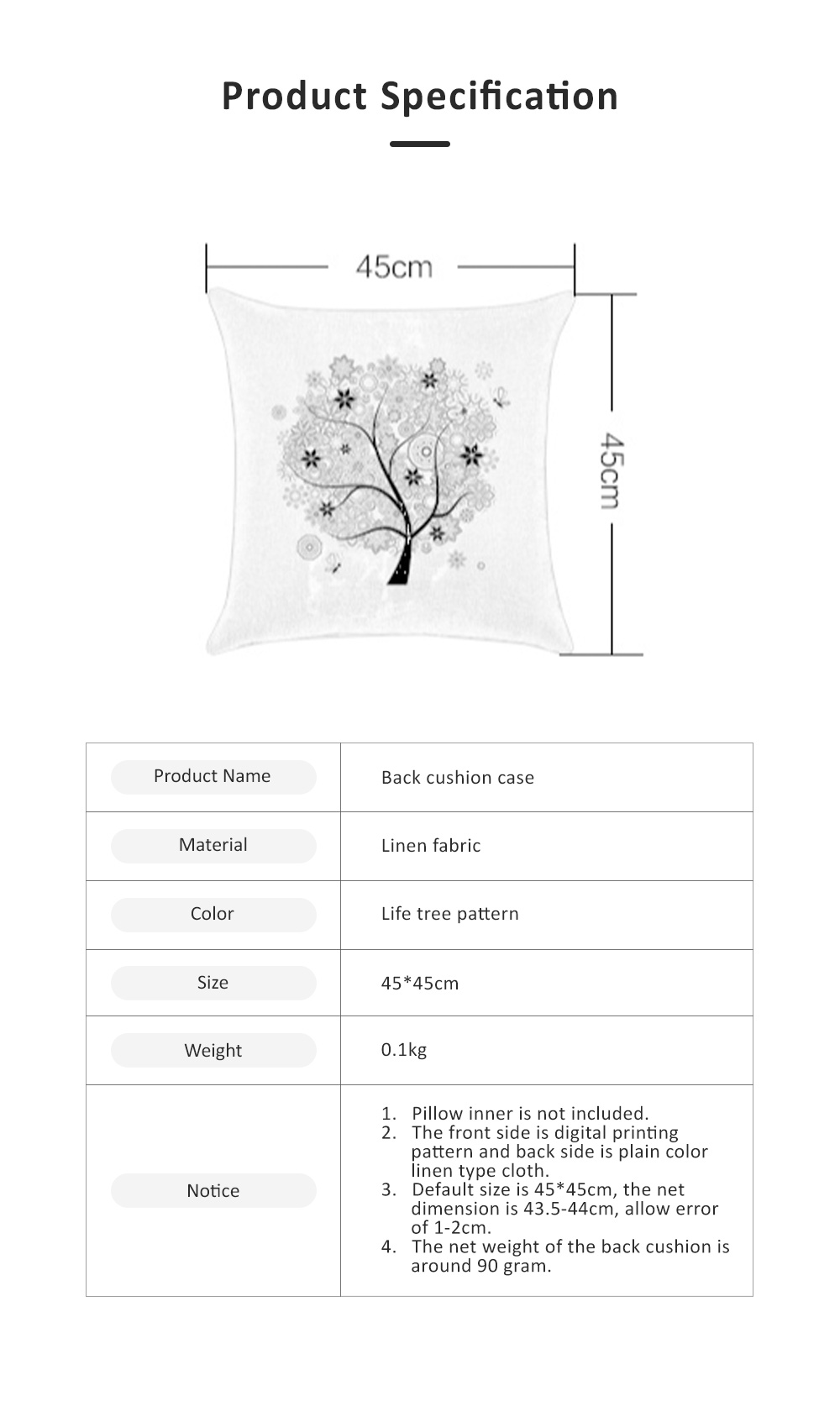 Abstract Tree Pattern Cushion Cover with Digital Printing, Skin-friendly Back Cushion Case for Vehicles, Sofa, Office Pillow Case 6