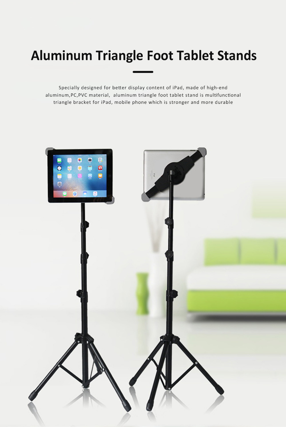 Aluminum Triangle Foot Tablet Stands, Retractable Mini Triangle Stands for iPad 7-12 inch 0