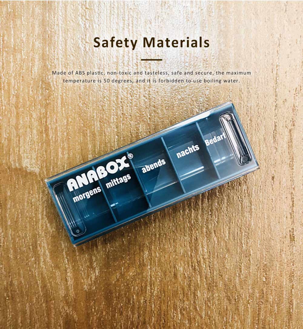 ANABOX Portable Moisture-Proof Small Pill Box Weekly-packed Separate Medical Case 3