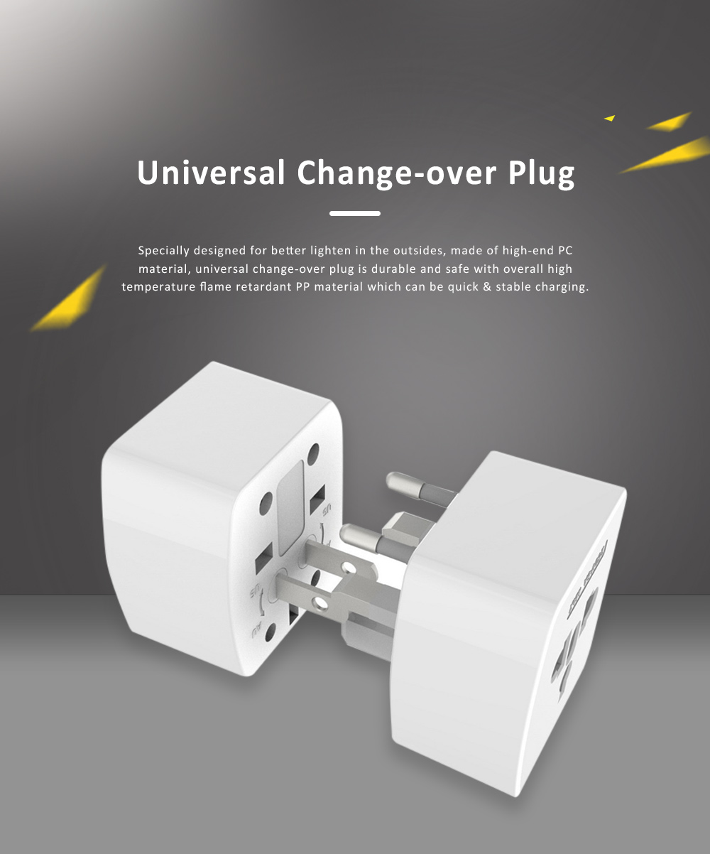 Universal Change-over Plug with Change-over Jack, Small Portable Universal Travel Charging Plug 0