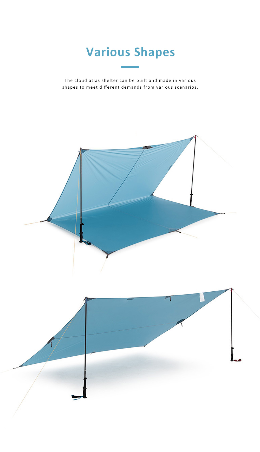 Sunshade Big Awning for Camping, Beach, Outdoor, Multifunctional Portable Large Canopy, Camping Cloud Atlas Shelter Outdoor Equipment 3