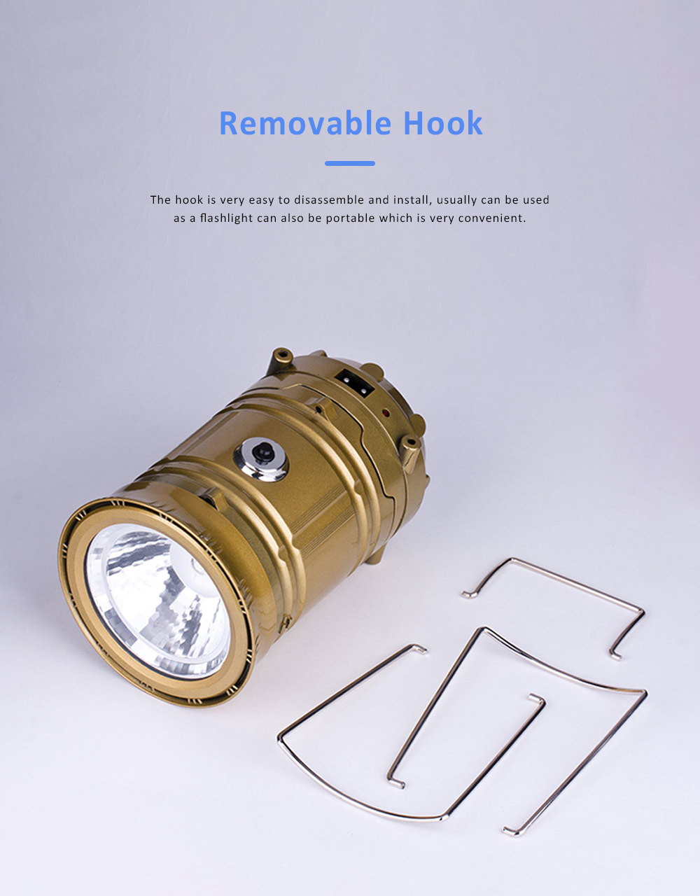 Stretchable Brightened Lantern for Camping, Hinking, Outdoors, Multifunctional Camping Lamp with Removable Hook, Two Charging Modes Lights 3