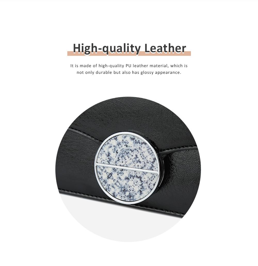 Marble Buckle Metal Chain Square Bag, High-quality PU Leather Handbag with Strap, Black Slanted Straddle Bag Single Shoulder Bag 5