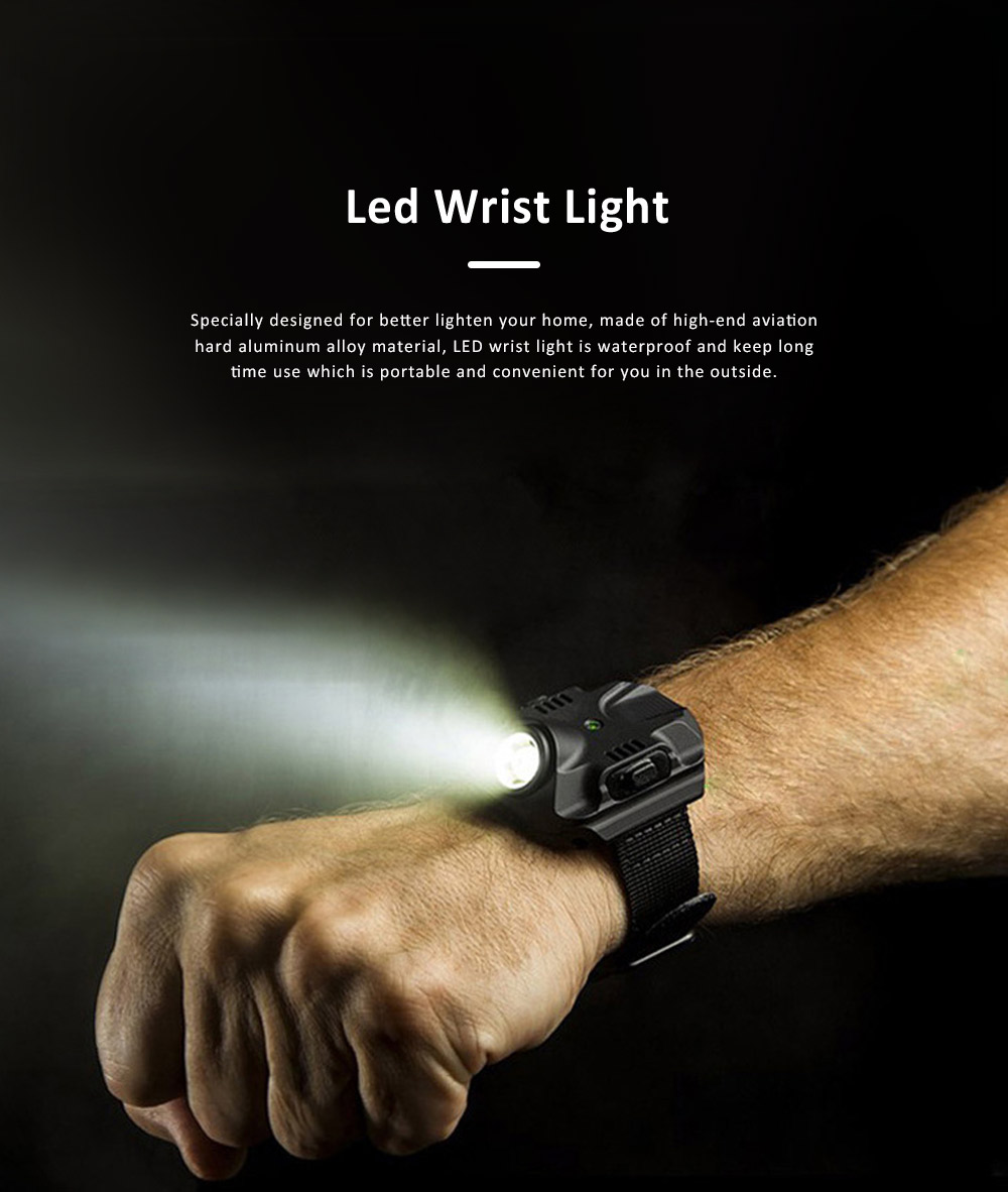 LED Wrist Light for Outdoor Running Camping Hand Flashlight with Compass Power Indicator Wrist Band Light 0