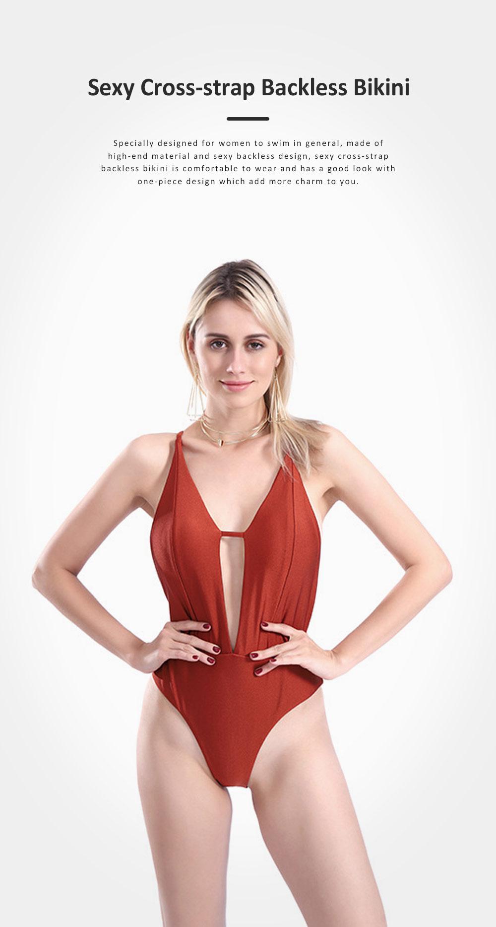 2019 Sexy Cross-strap Backless Bikini for Women , One-piece High Waist Swimwear Adjustable Shoulder Strap Backless Swimming Suit Bikini Red 0