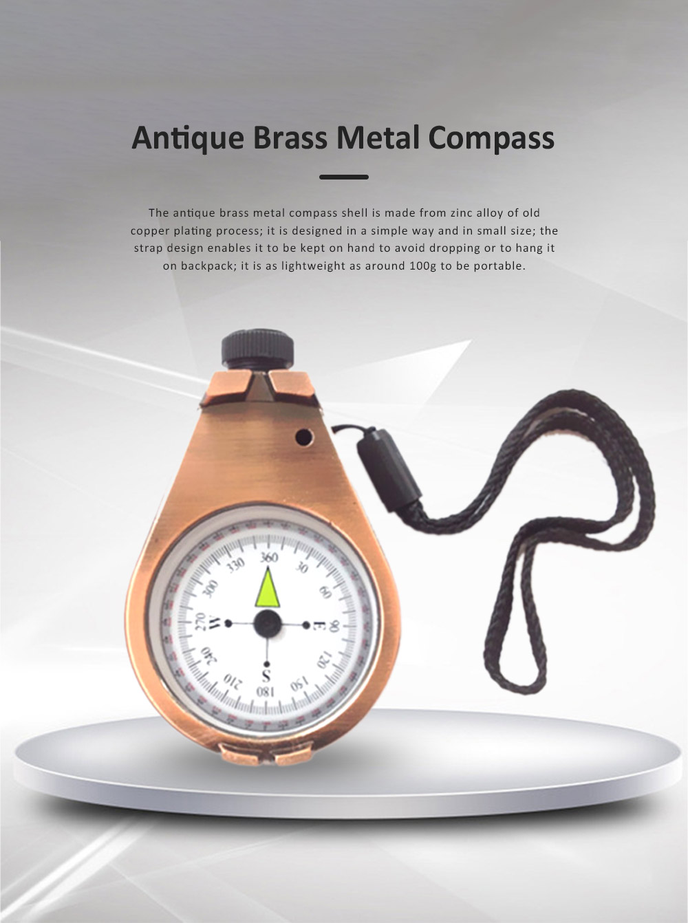 Antique Brass Color Metal Compass with Handle Strap for Outdoors, Camping, Hiking, High-end Quality Zinc Alloy North Arrow Outdoor Camp-out Accessory 0