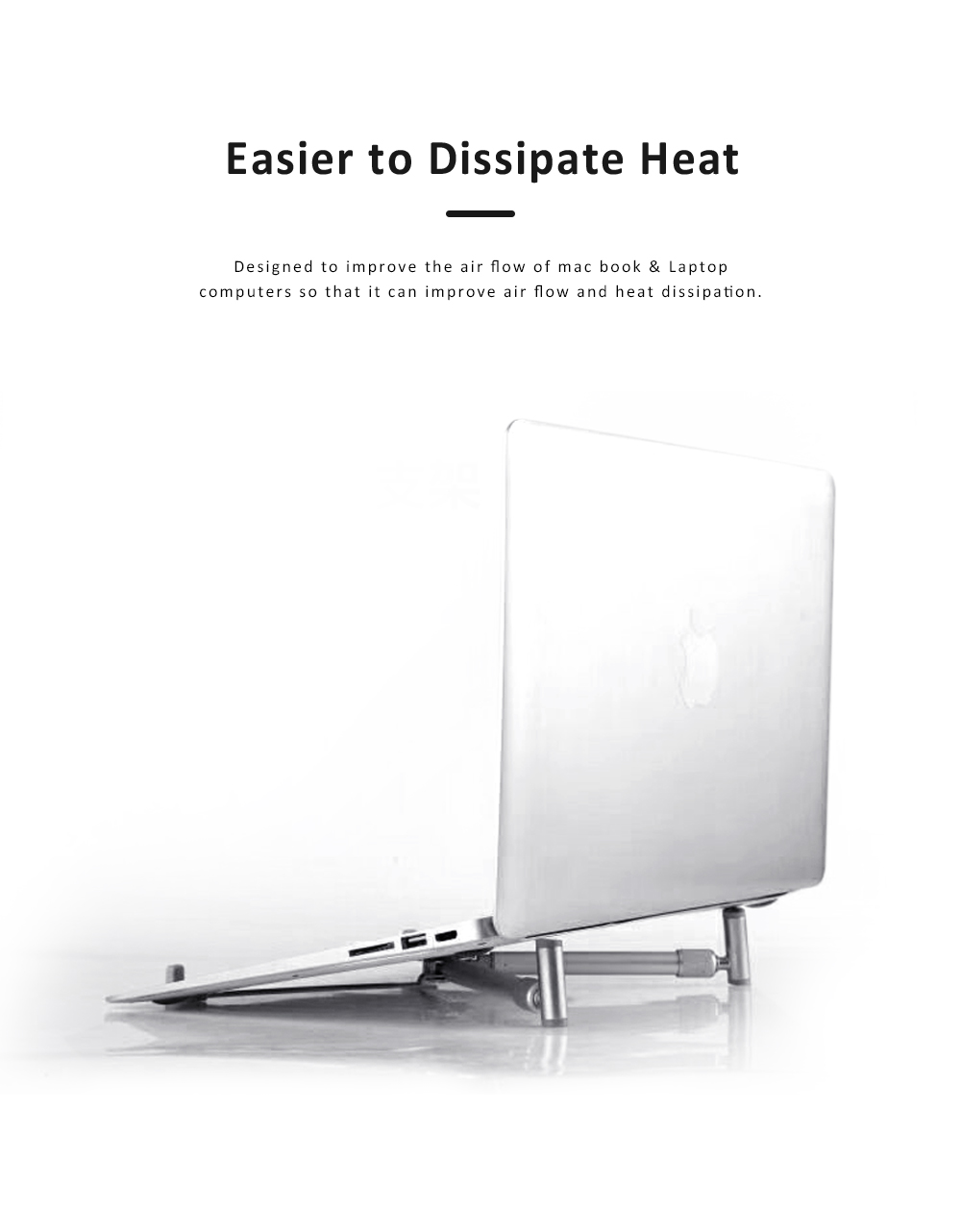 Heat Dissipation Collapsible Mount Holder, Aluminum Alloy Silicone Desktop Stand for iPad, Laptop, Tablet & Mobile Phone 1
