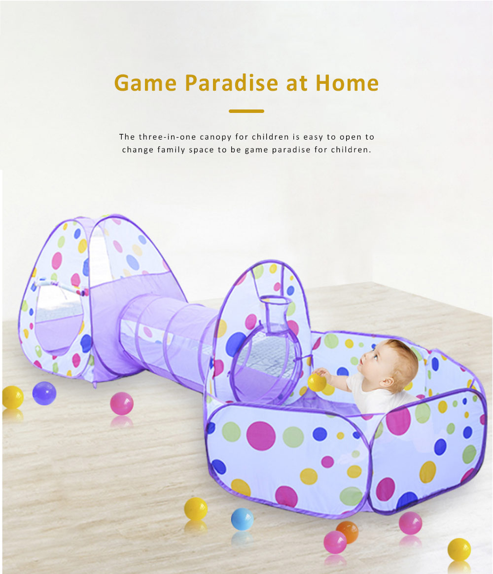 Canopy Game House for Babies, Toddlers, Three-in-one Tunnel Playing Toy, Foldable Game House 3
