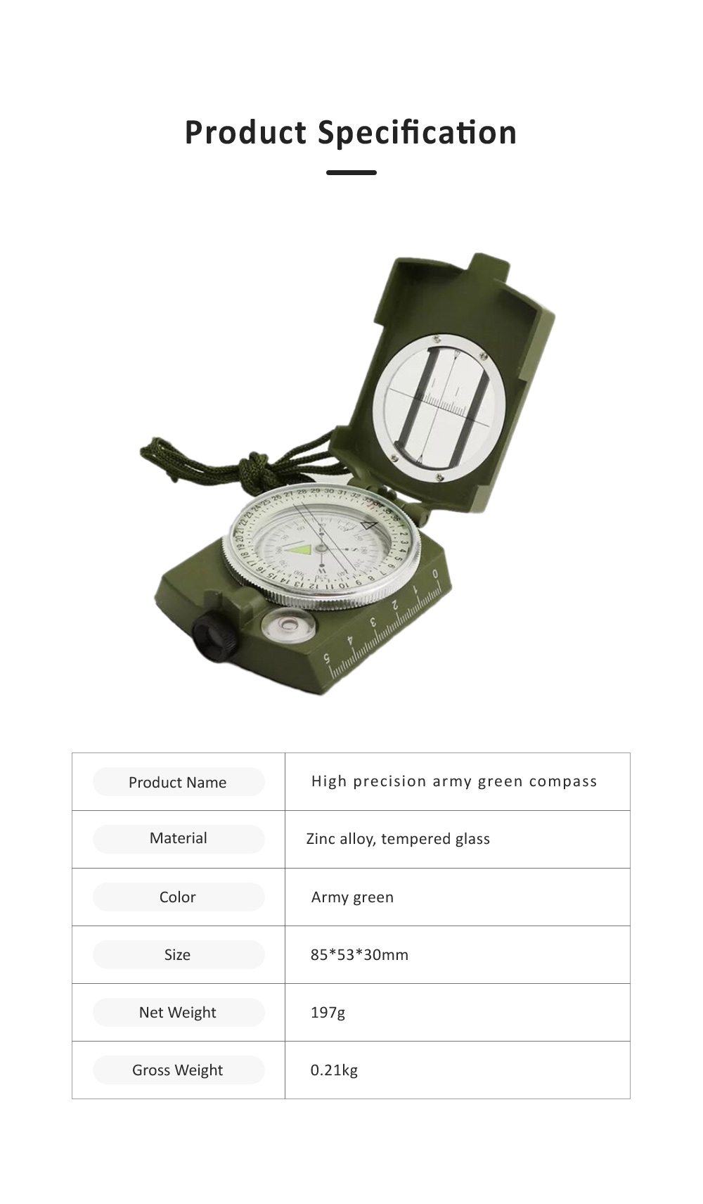 High Precision Compass for Outdoor Use,  American Style Multifunctional Zinc Alloy Made North Arrow Army Green Color Outdoor Equipment 6