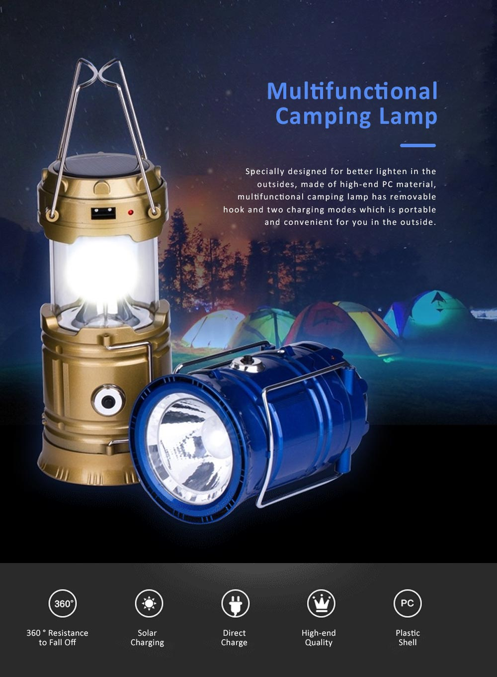 Stretchable Brightened Lantern for Camping, Hinking, Outdoors, Multifunctional Camping Lamp with Removable Hook, Two Charging Modes Lights 0