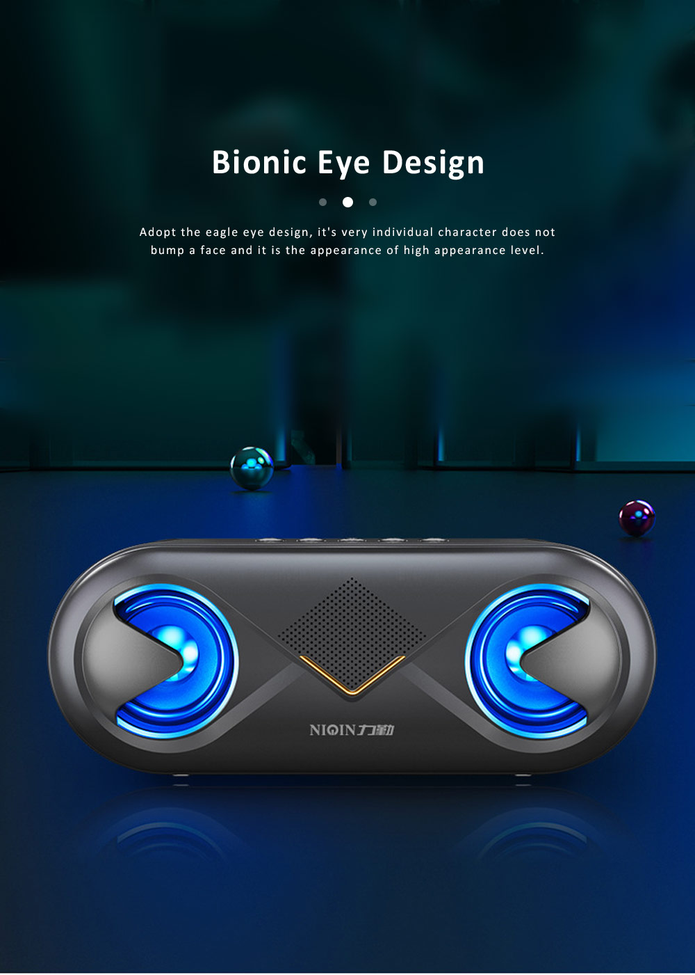 Cellular Wireless Bluetooth Speaker, Portable Desktop Home Speaker, Bionic Eye Design Subwoofer with Alarm Clock 8