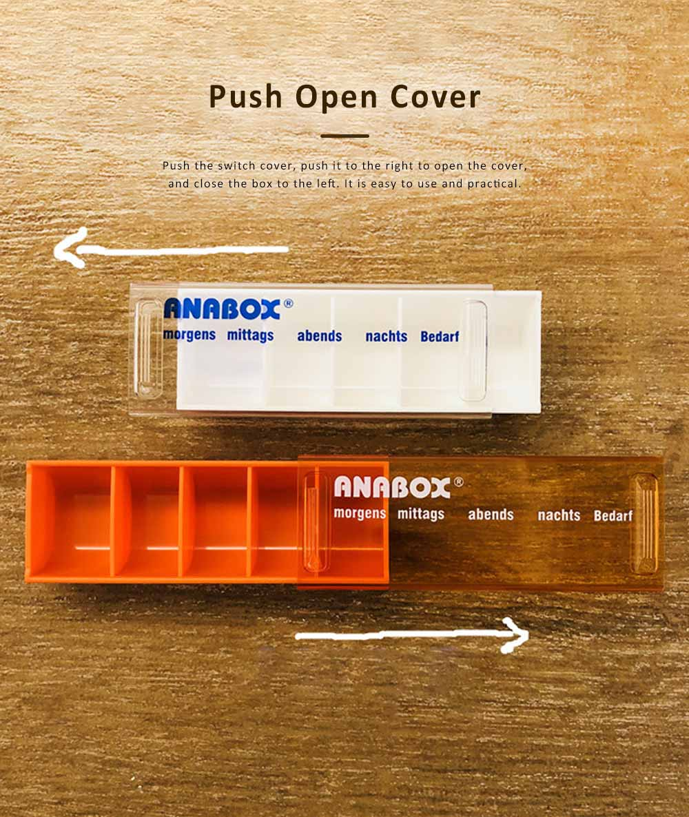 ANABOX Portable Moisture-Proof Small Pill Box Weekly-packed Separate Medical Case 2