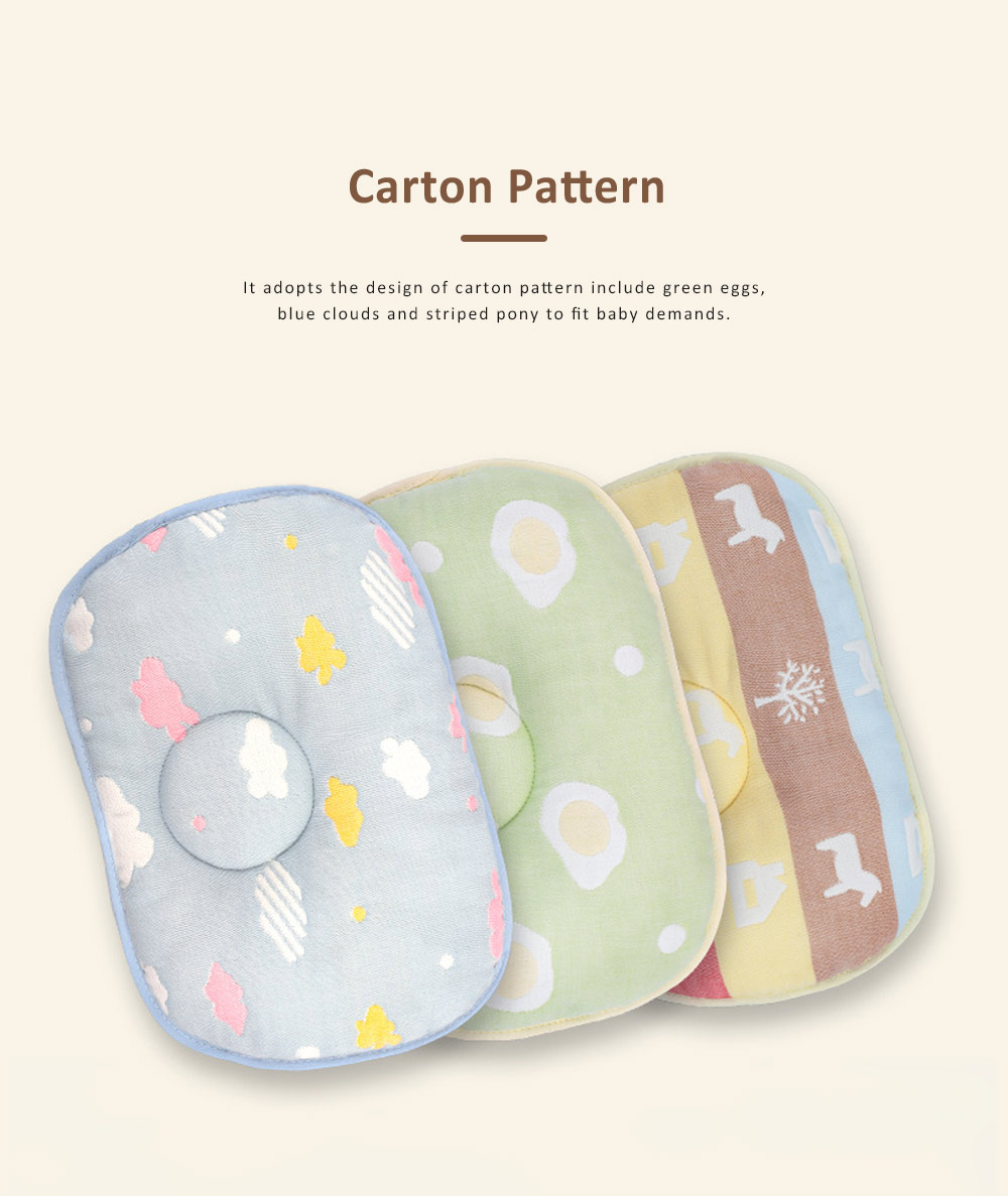 Correct Baby Head Pillow for 0-6 Months Baby, Carton Pattern Six Cotton Layers Finalize Newborn Pillow 1
