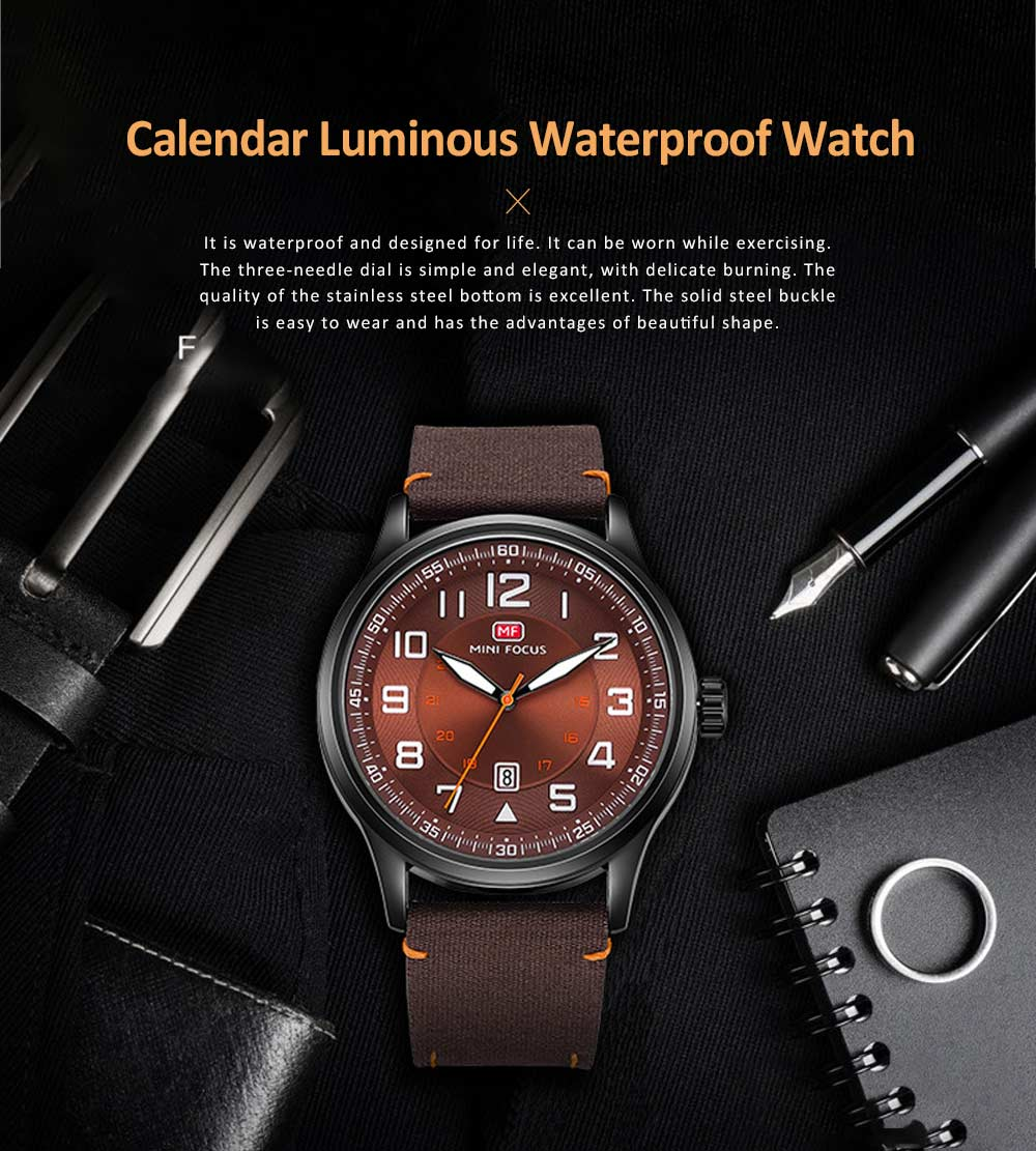 Fashion Japanese Movement Men's Watch, Calendar Luminous Waterproof Watch, Exquisite Nylon Strap Sport Wristwatch 0
