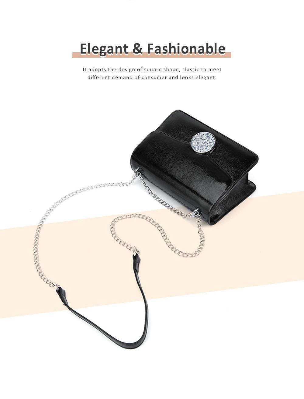 Marble Buckle Metal Chain Square Bag, High-quality PU Leather Handbag with Strap, Black Slanted Straddle Bag Single Shoulder Bag 1