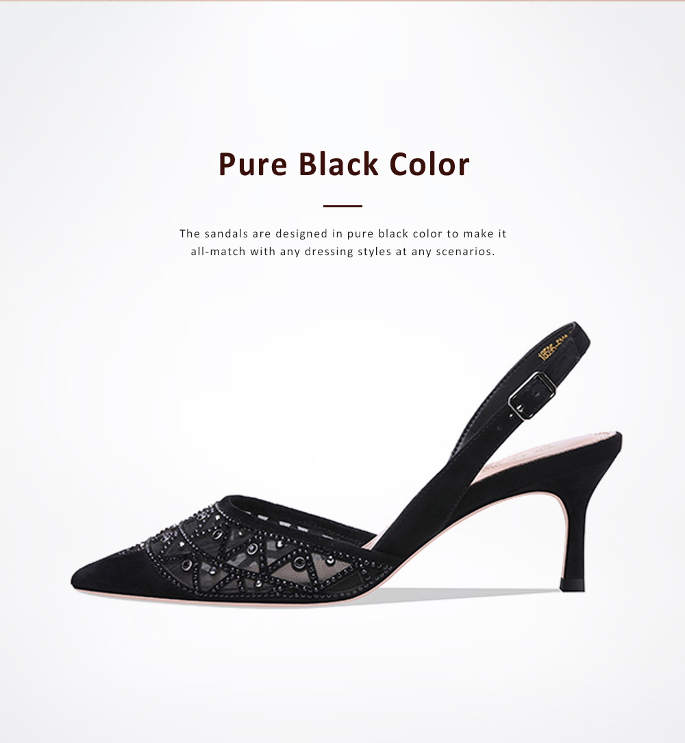 Hollow-out Mesh Stiletto Heel Sandals with Diamond, Daily Wear Back High Heel Sandal Shoes, 2019 All-match Pumps with Kitten Heel 5