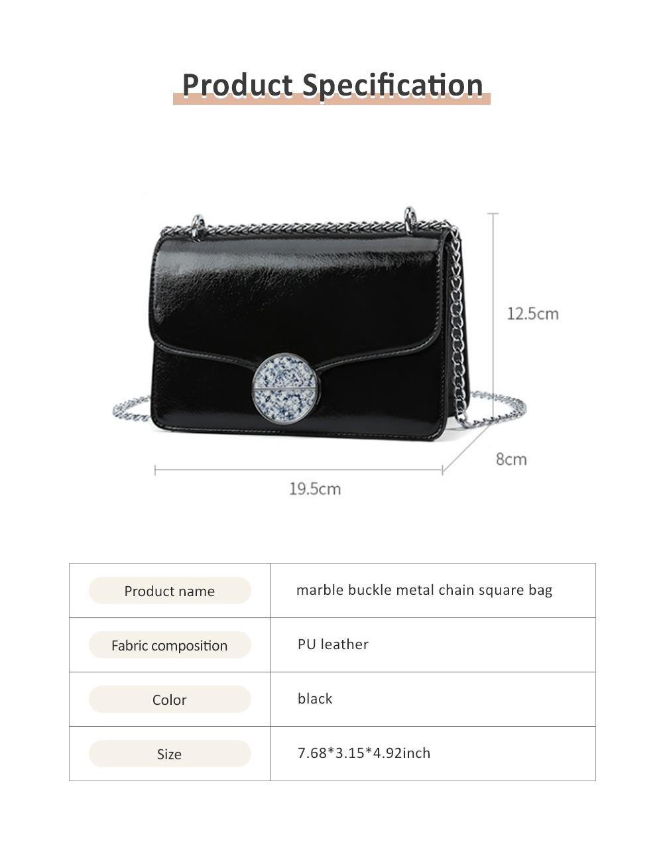 Marble Buckle Metal Chain Square Bag, High-quality PU Leather Handbag with Strap, Black Slanted Straddle Bag Single Shoulder Bag 6