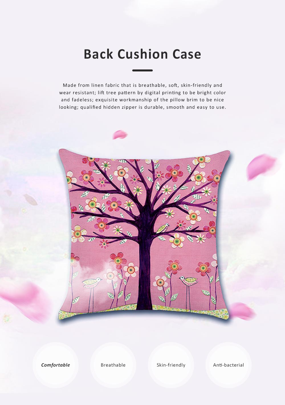 Abstract Tree Pattern Cushion Cover with Digital Printing, Skin-friendly Back Cushion Case for Vehicles, Sofa, Office Pillow Case 0