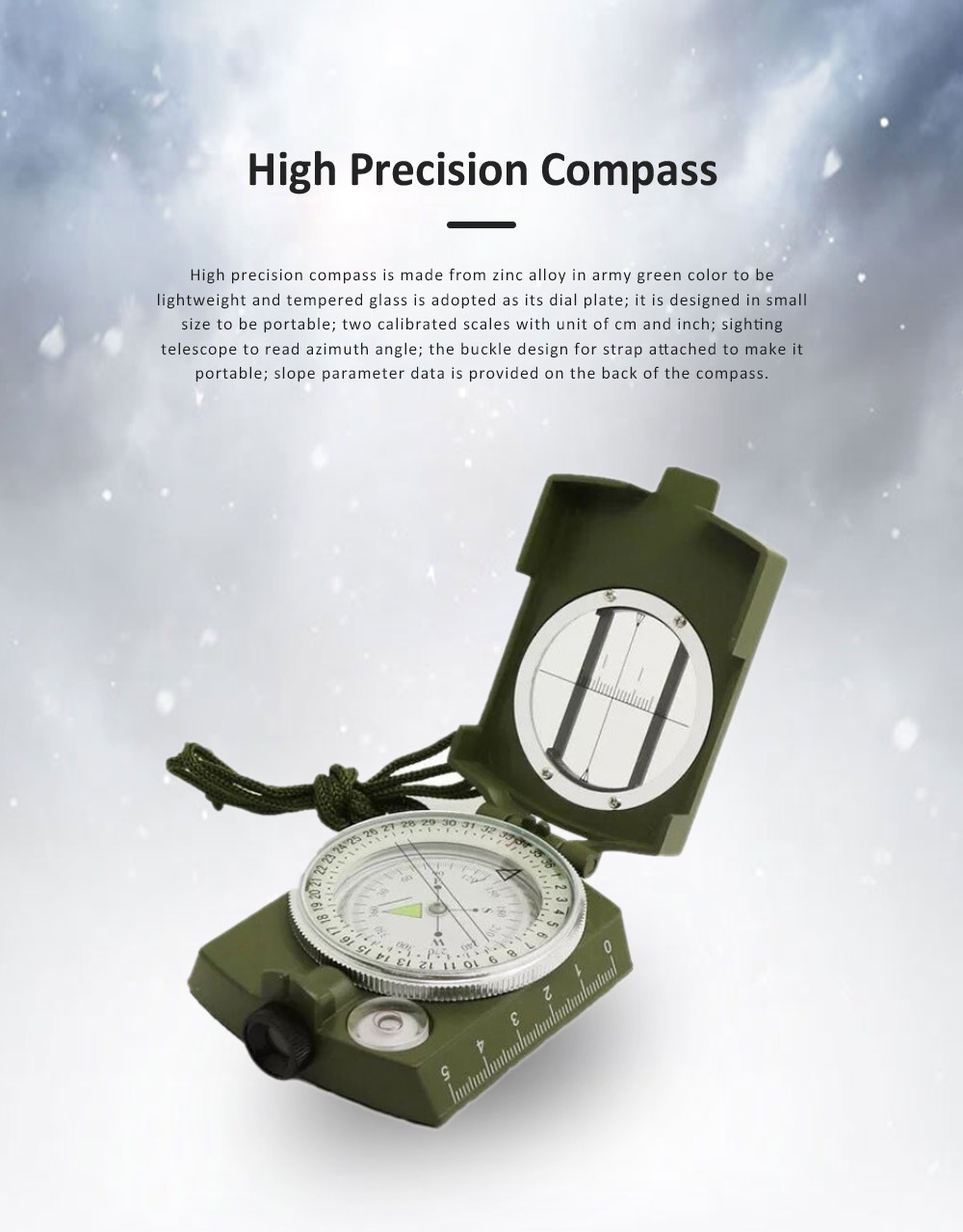 High Precision Compass for Outdoor Use,  American Style Multifunctional Zinc Alloy Made North Arrow Army Green Color Outdoor Equipment 0