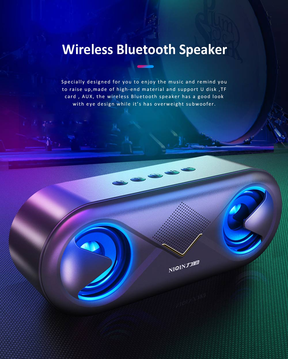 Cellular Wireless Bluetooth Speaker, Portable Desktop Home Speaker, Bionic Eye Design Subwoofer with Alarm Clock 0