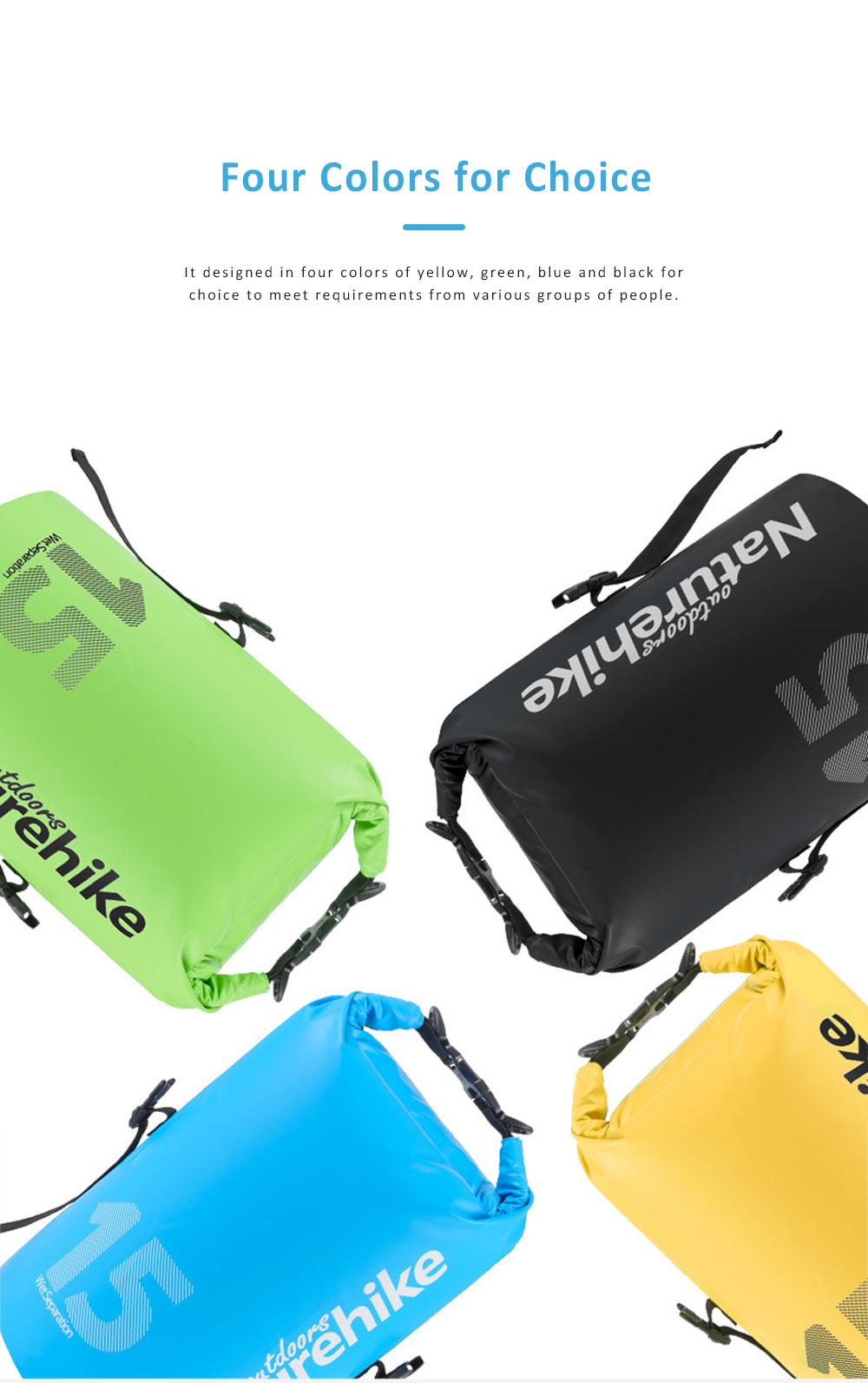 Wet Dry Separation Waterproof Bag for Outdoor Activities, Floating, Swimming, Diving, Beach Used Showerproof Large-capacity Storage Bag 5