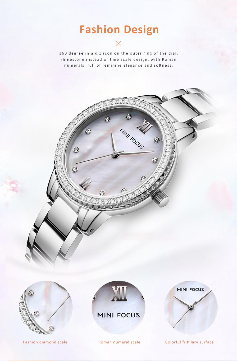 Trendy Luxury Diamond-studded Ladies Watch Fashion Business Steel Strap Women's Watch 1