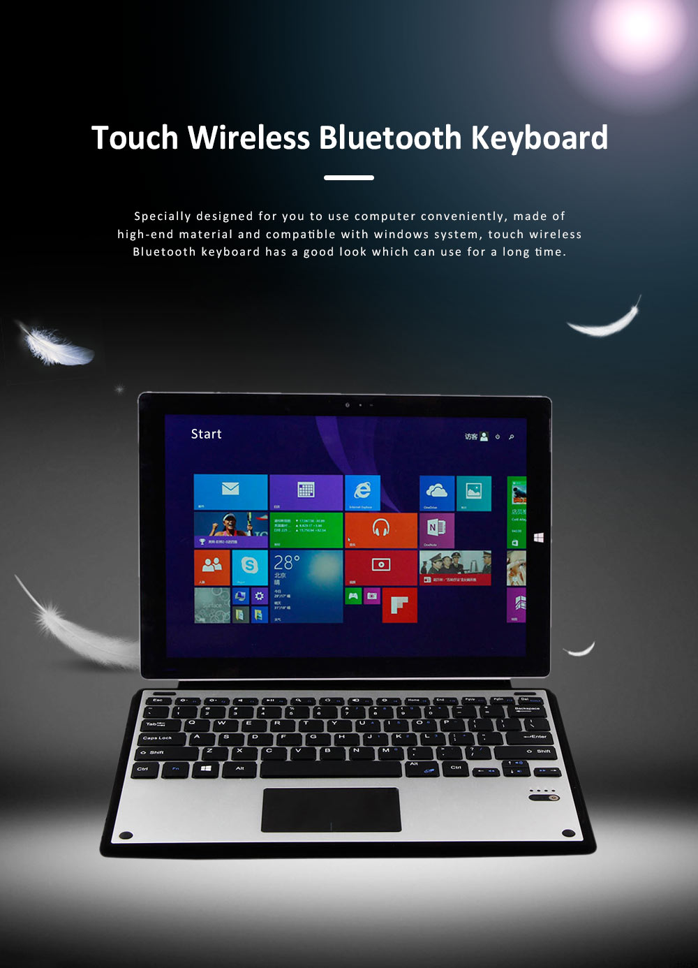 Ultra-thin Touch Control Wireless Bluetooth Keyboard for Microsoft Surface Pro3 Pro 4, Office Home Use Aluminum Alloy Wireless Keyboard 12.2 inch  0