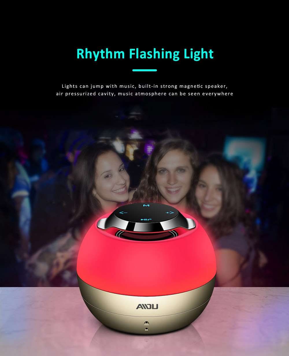 Portable Touch Flash Subwoofer, Compatible with IOS & Android System High-quality Bluetooth Speaker, Eco-friendly Paint Stereo Mini Car Mounted Speaker  2