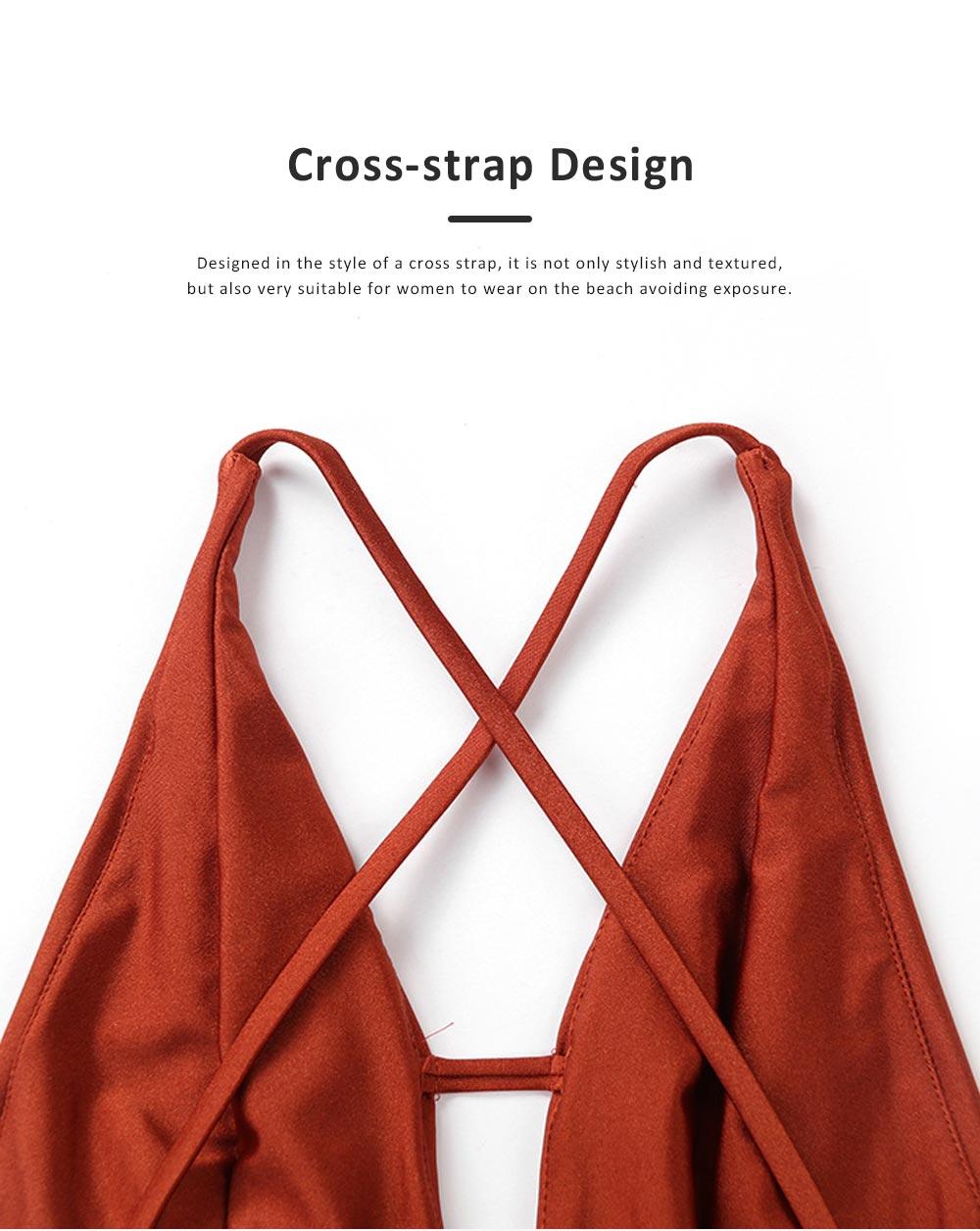 2019 Sexy Cross-strap Backless Bikini for Women , One-piece High Waist Swimwear Adjustable Shoulder Strap Backless Swimming Suit Bikini Red 1