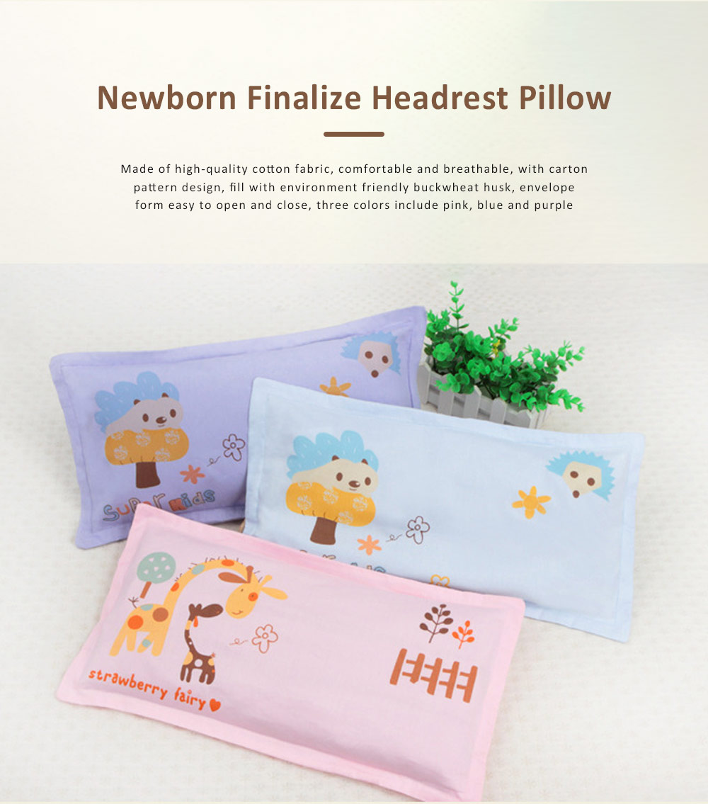 Newborn Finalize Headrest Pillow for 0-6 Months Baby, Buckwheat Husk Cervical Spine Protection Pillow 0