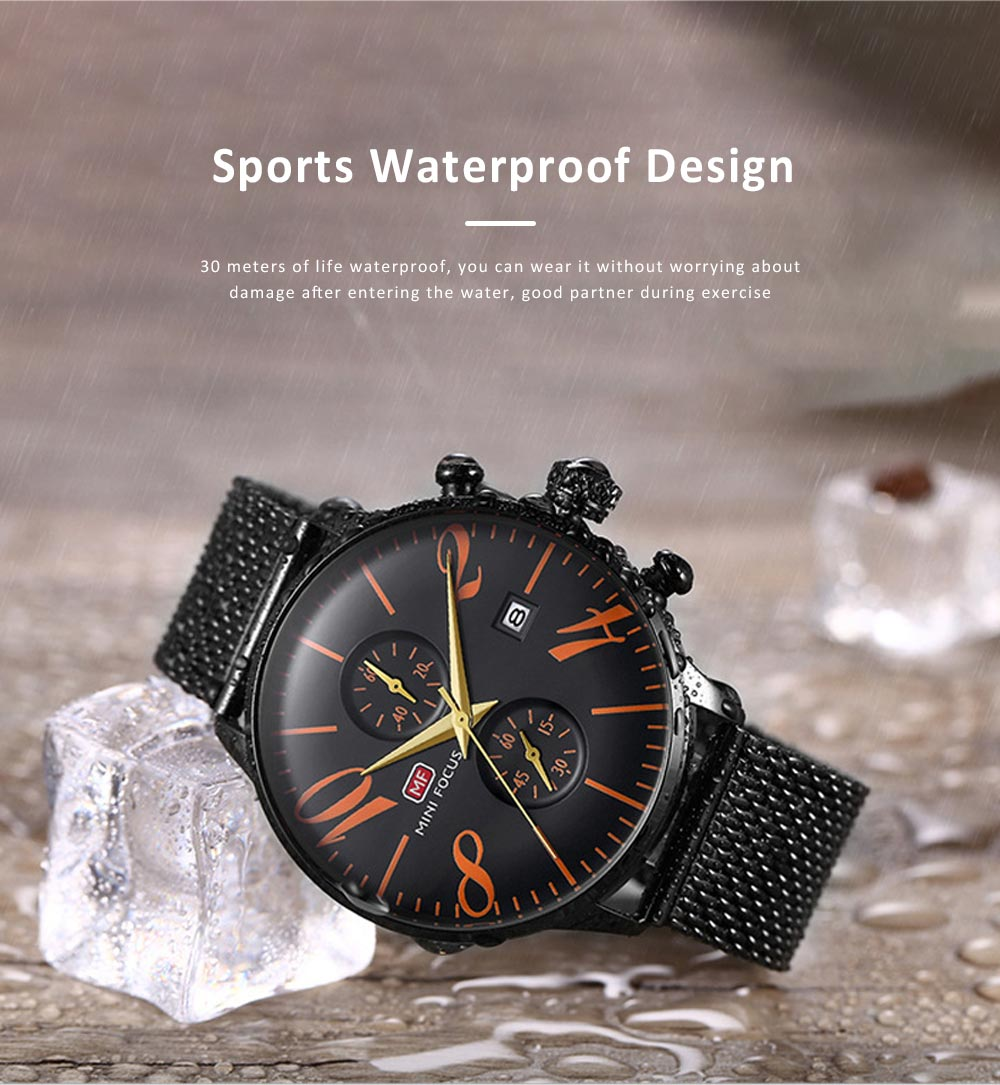 Men's Business Watch, Multi-Function Sports Waterproof Watch, Fashion Chronograph Quartz Watch for Outdoor Width 22mm Length 245mm 2