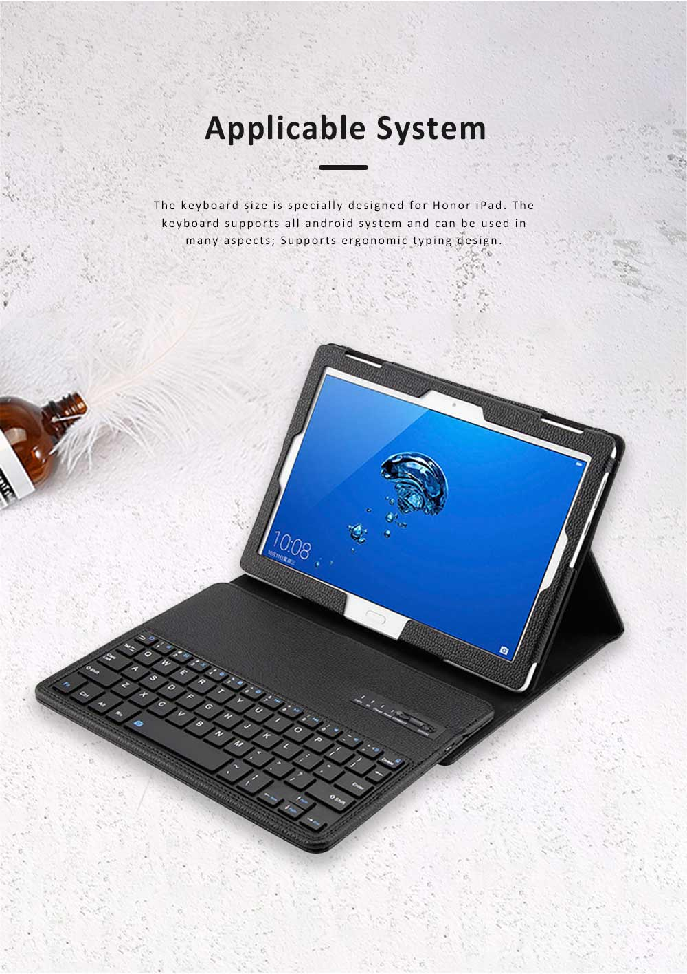 10.1 inch Bluetooth Keyboard with Detachable Leather Case, Scintillation Lamp Function Keyboard for Huawei Honor Waterplay 10'' 6