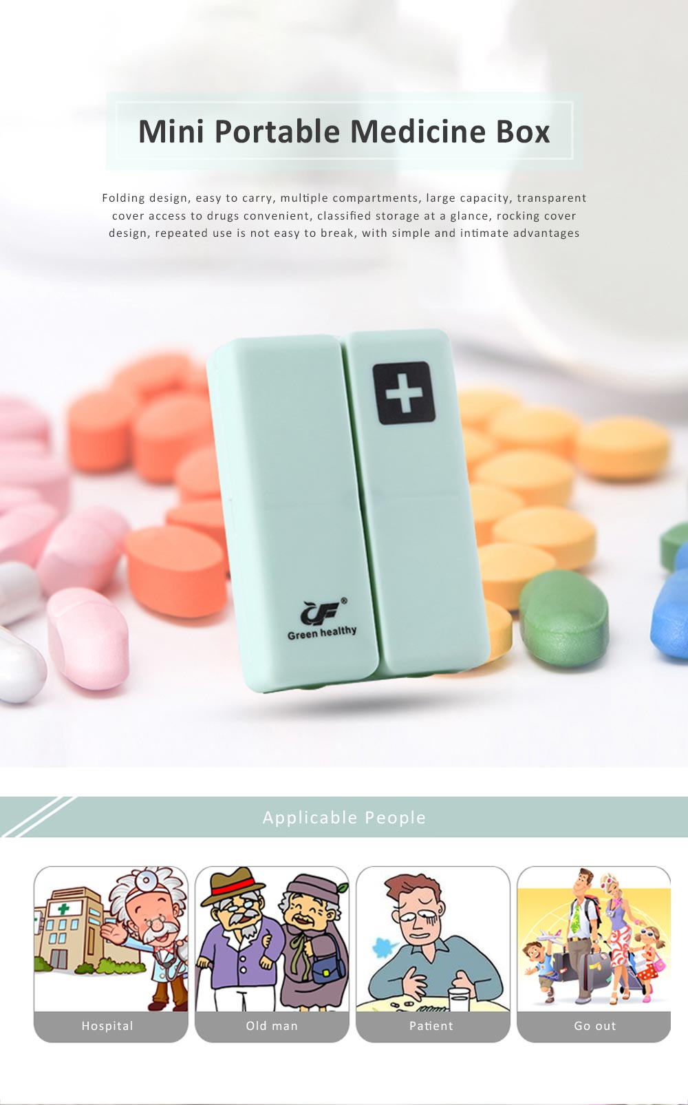 Mini Portable Medicine Box, Medicine Classification Storage Box, Moisture-proof Convenient Carry Classification Box 0