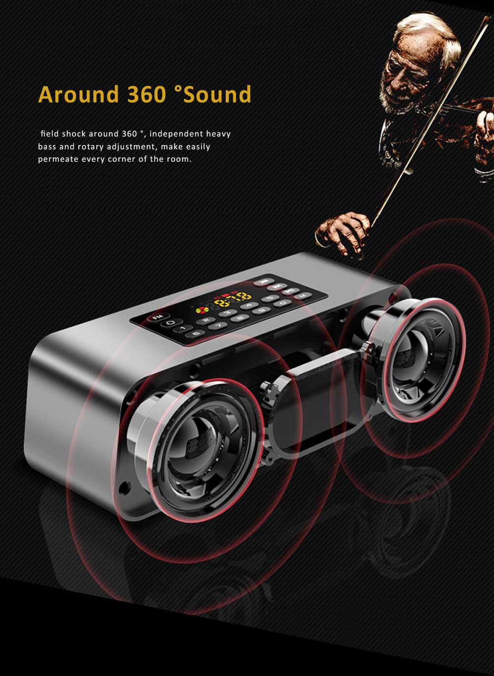 Wireless Bluetooth 5.0 Speaker with Dual Speakers, Bass Card Speaker Support Ultra-long Battery Life for Apps, Computer, Tablets, Phones 5