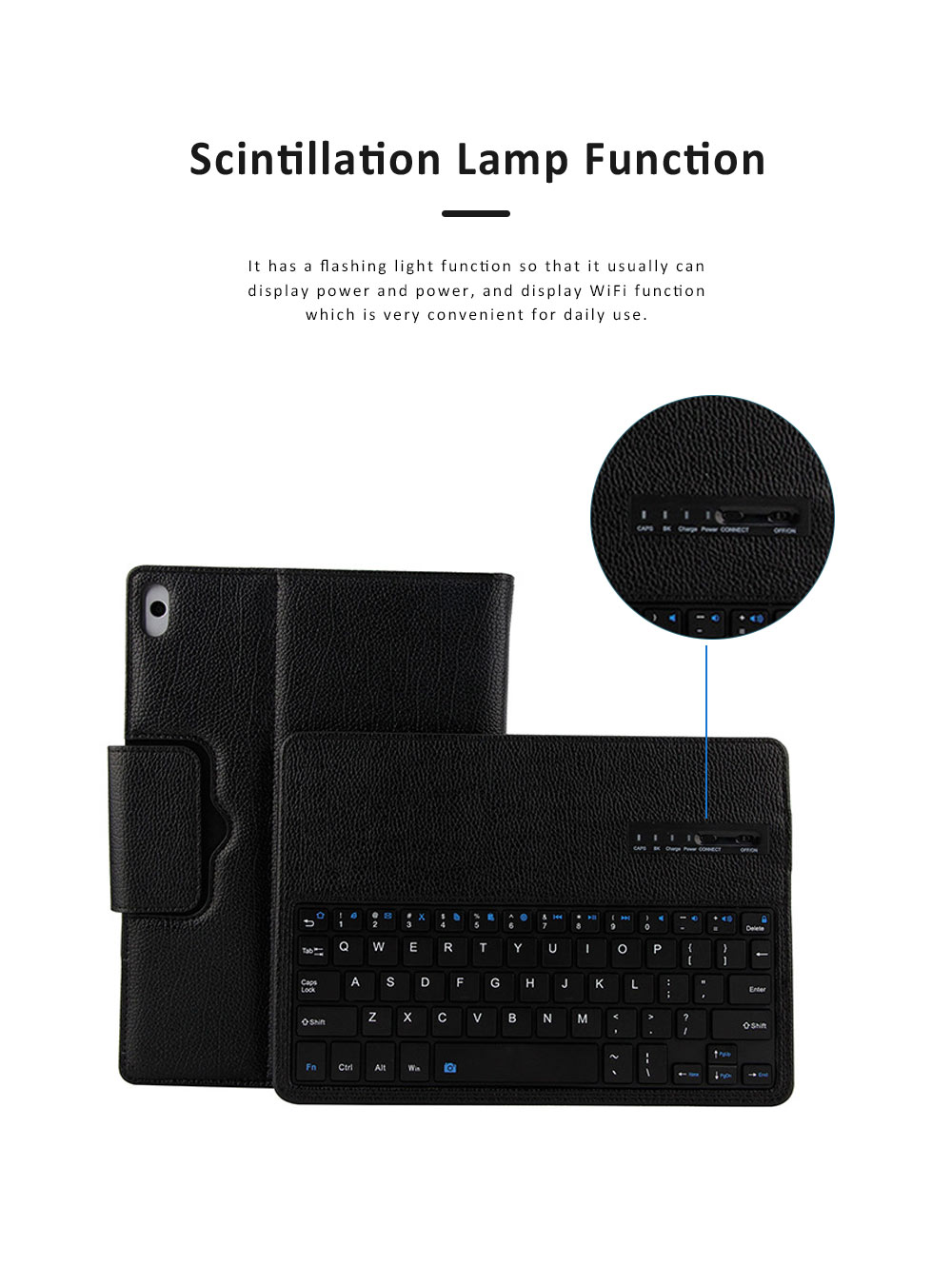 10.1 inch Bluetooth Keyboard with Detachable Leather Case, Scintillation Lamp Function Keyboard for Huawei Honor Waterplay 10'' 5